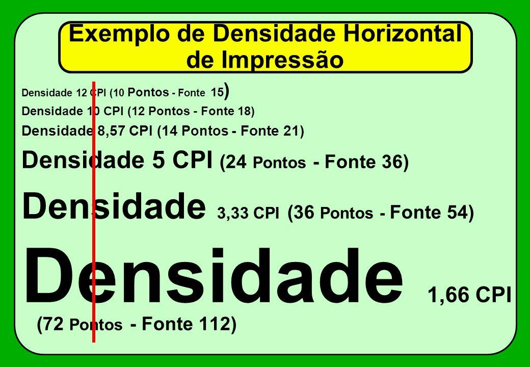 Exemplo de Densidade Horizontal de Impressão Densidade 12 CPI (10 Pontos - Fonte 15 ) Densidade 10 CPI (12 Pontos - Fonte 18) Densidade 8,57 CPI (14 P