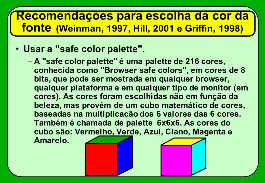 Recomendações para escolha da cor da fonte (Weinman, 1997, Hill, 2001 e Griffin, 1998) Usar a