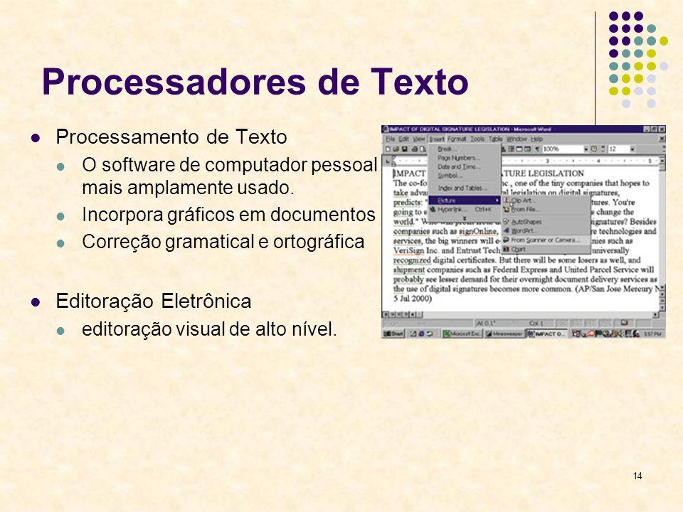 14 Processadores de Texto Processamento de Texto O software de computador pessoal mais amplamente usado. Incorpora gráficos em documentos Correção gra