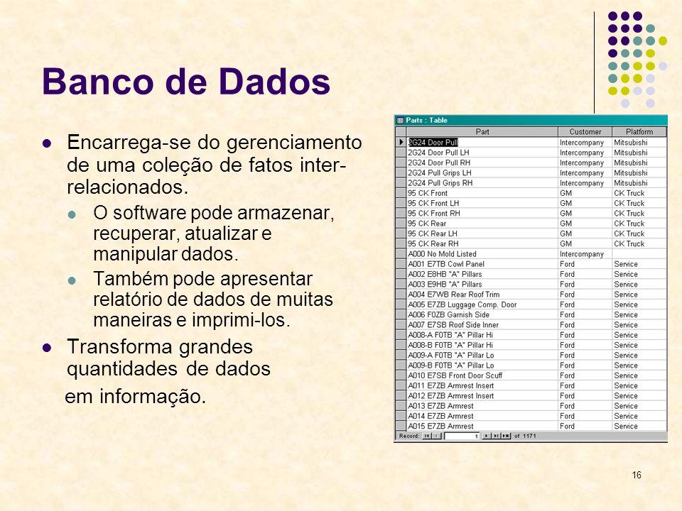 16 Banco de Dados Encarrega-se do gerenciamento de uma coleção de fatos inter- relacionados. O software pode armazenar, recuperar, atualizar e manipul