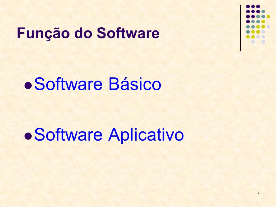 2 Função do Software Software Básico Software Aplicativo