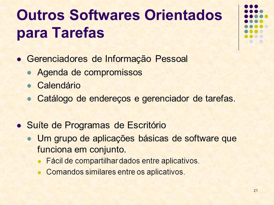 21 Outros Softwares Orientados para Tarefas Gerenciadores de Informação Pessoal Agenda de compromissos Calendário Catálogo de endereços e gerenciador