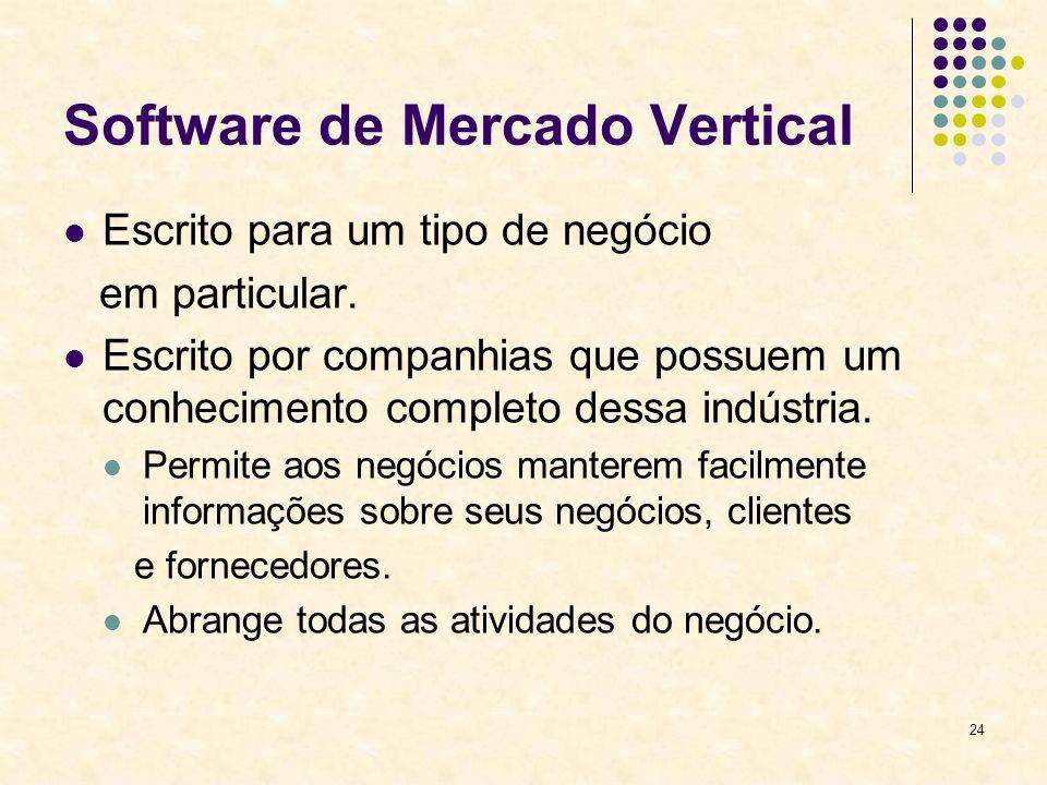 24 Software de Mercado Vertical Escrito para um tipo de negócio em particular. Escrito por companhias que possuem um conhecimento completo dessa indús