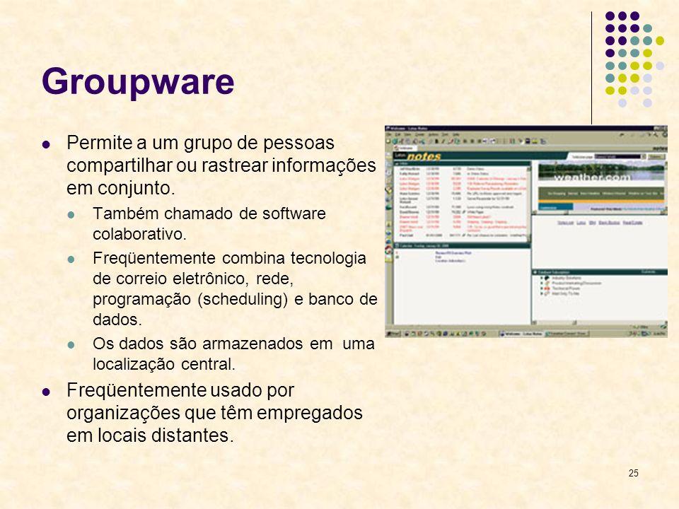 25 Groupware Permite a um grupo de pessoas compartilhar ou rastrear informações em conjunto. Também chamado de software colaborativo. Freqüentemente c