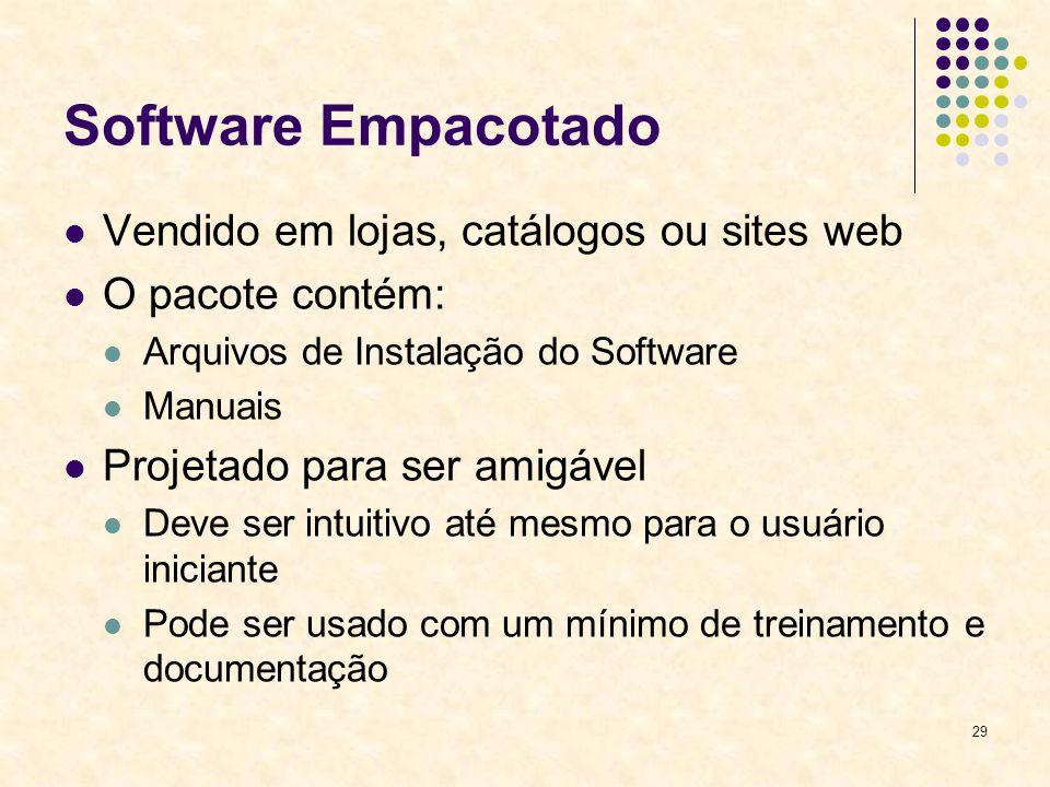 29 Software Empacotado Vendido em lojas, catálogos ou sites web O pacote contém: Arquivos de Instalação do Software Manuais Projetado para ser amigáve