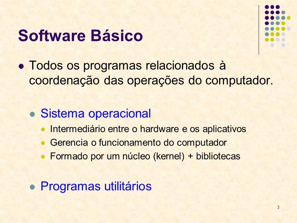3 Software Básico Todos os programas relacionados à coordenação das operações do computador. Sistema operacional Intermediário entre o hardware e os a