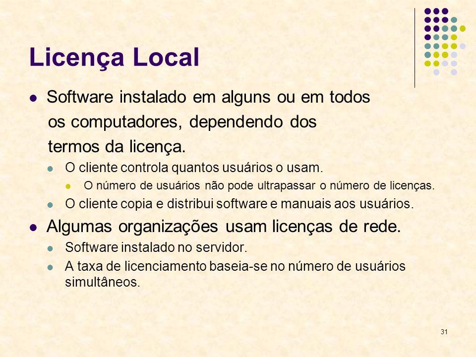 31 Licença Local Software instalado em alguns ou em todos os computadores, dependendo dos termos da licença. O cliente controla quantos usuários o usa