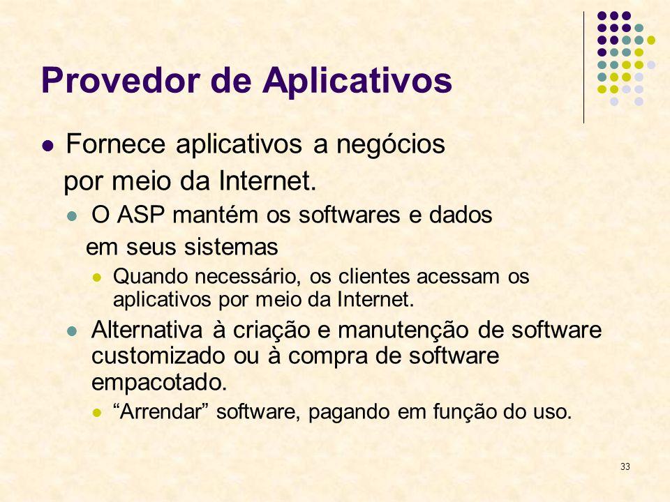 33 Provedor de Aplicativos Fornece aplicativos a negócios por meio da Internet. O ASP mantém os softwares e dados em seus sistemas Quando necessário,