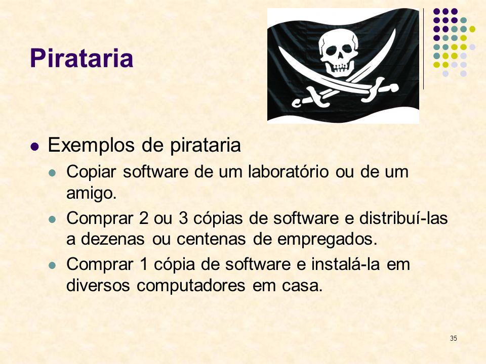 35 Pirataria Exemplos de pirataria Copiar software de um laboratório ou de um amigo. Comprar 2 ou 3 cópias de software e distribuí-las a dezenas ou ce