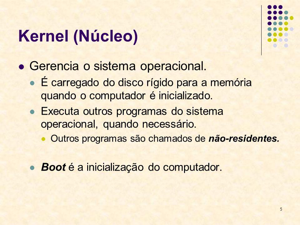 5 Kernel (Núcleo) Gerencia o sistema operacional. É carregado do disco rígido para a memória quando o computador é inicializado. Executa outros progra