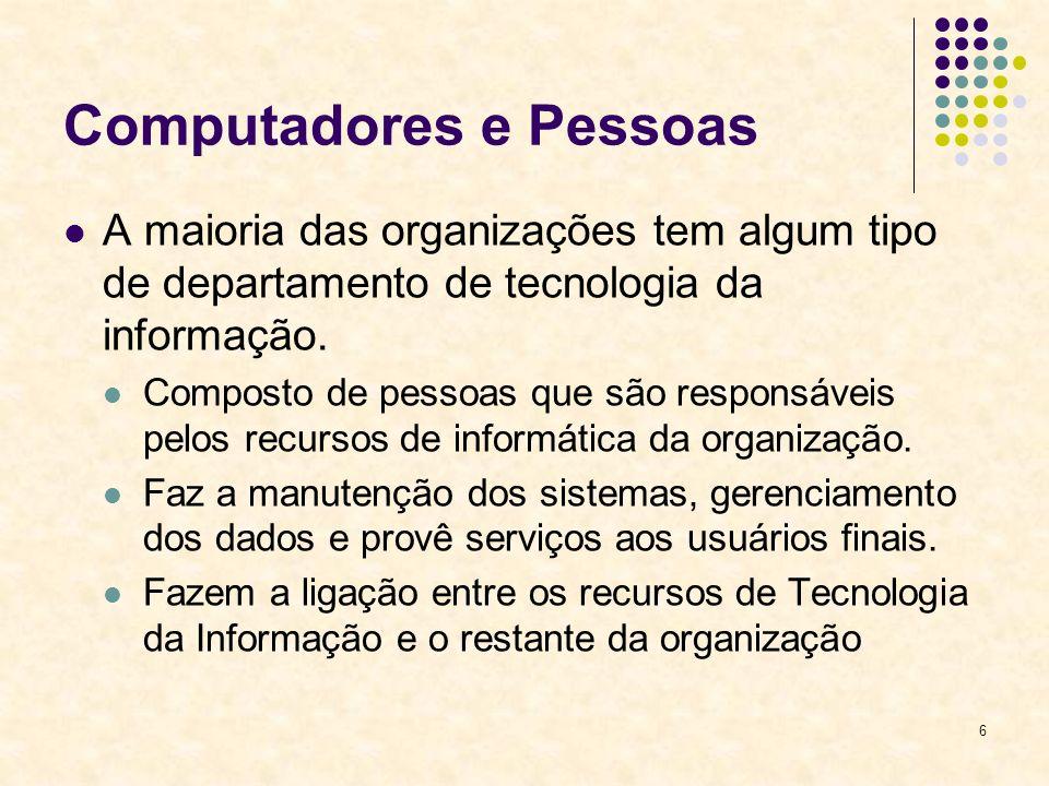 6 Computadores e Pessoas A maioria das organizações tem algum tipo de departamento de tecnologia da informação. Composto de pessoas que são responsáve