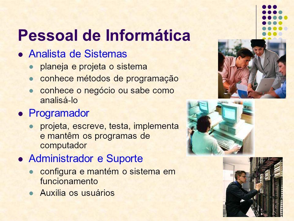 7 Pessoal de Informática Analista de Sistemas planeja e projeta o sistema conhece métodos de programação conhece o negócio ou sabe como analisá-lo Pro