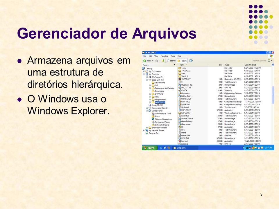 9 Gerenciador de Arquivos Armazena arquivos em uma estrutura de diretórios hierárquica. O Windows usa o Windows Explorer.