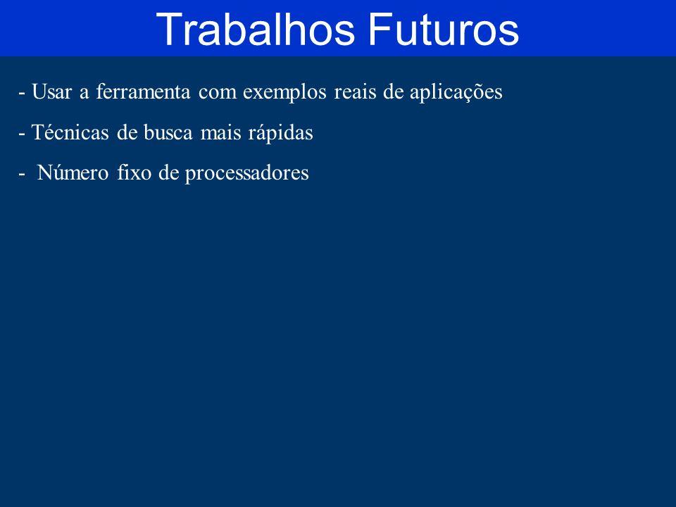 - Usar a ferramenta com exemplos reais de aplicações - Técnicas de busca mais rápidas - Número fixo de processadores Trabalhos Futuros