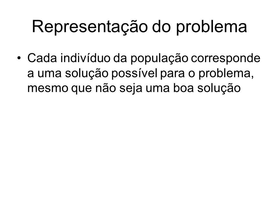 Representação do problema Cada indivíduo da população corresponde a uma solução possível para o problema, mesmo que não seja uma boa solução