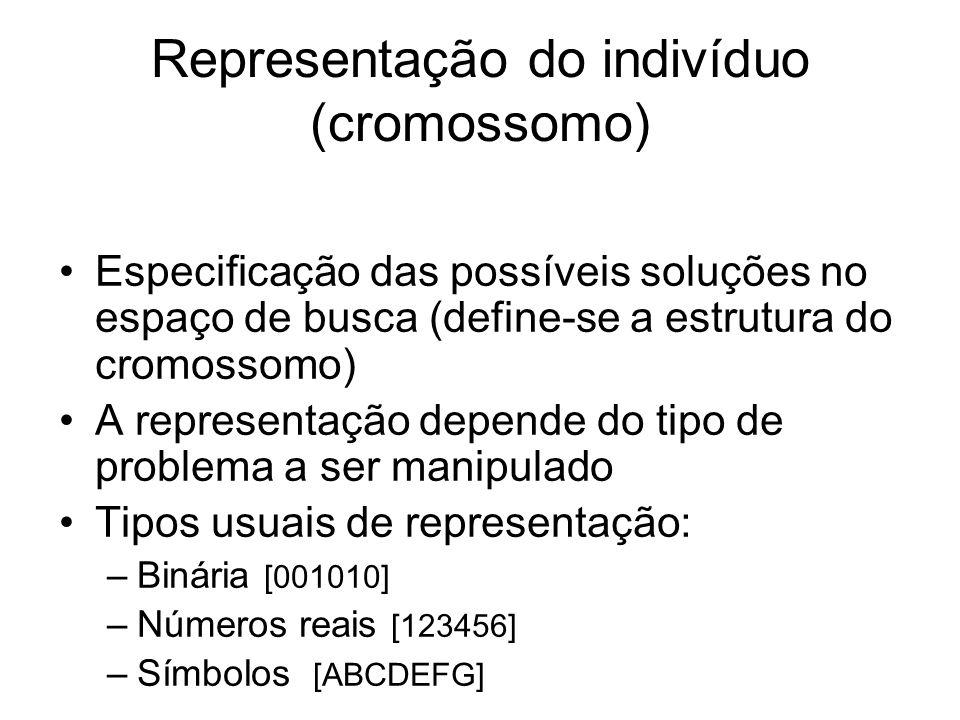 Representação do indivíduo (cromossomo) Especificação das possíveis soluções no espaço de busca (define-se a estrutura do cromossomo) A representação