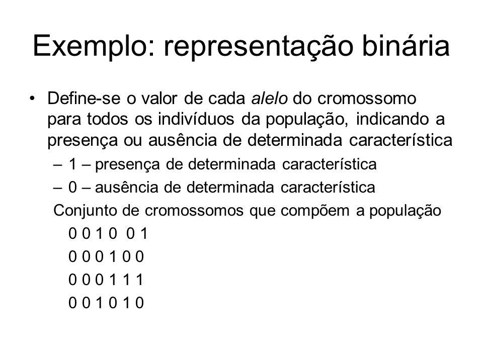 Exemplo: representação binária Define-se o valor de cada alelo do cromossomo para todos os indivíduos da população, indicando a presença ou ausência d