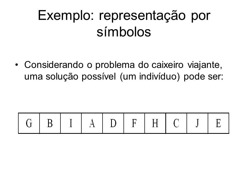 Exemplo: representação por símbolos Considerando o problema do caixeiro viajante, uma solução possível (um indivíduo) pode ser: