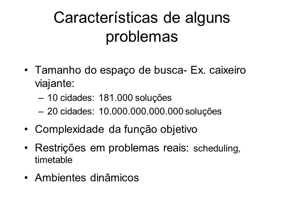 Características de alguns problemas Tamanho do espaço de busca- Ex. caixeiro viajante: –10 cidades: 181.000 soluções –20 cidades: 10.000.000.000.000 s