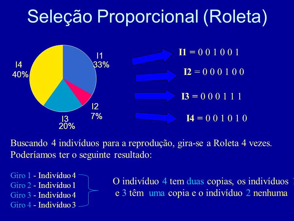 Seleção Proporcional (Roleta) I1 = 0 0 1 0 0 1 I2 = 0 0 0 1 0 0 I3 = 0 0 0 1 1 1 I4 = 0 0 1 0 1 0 I1 33% I2 7% I3 20% I4 40% Buscando 4 indivíduos par
