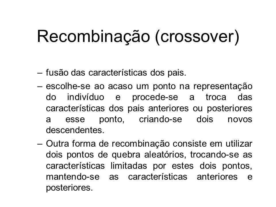 Recombinação (crossover) –fusão das características dos pais. –escolhe-se ao acaso um ponto na representação do indivíduo e procede-se a troca das car