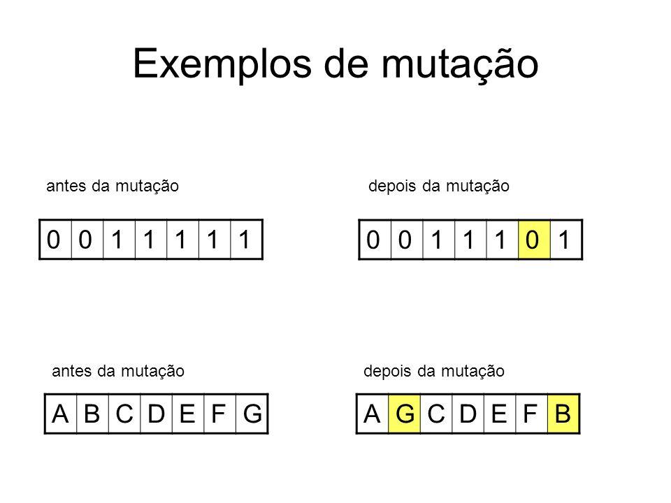 Exemplos de mutação 0011111 0011101 antes da mutação depois da mutação ABCDEFGAGCDEFB antes da mutaçãodepois da mutação