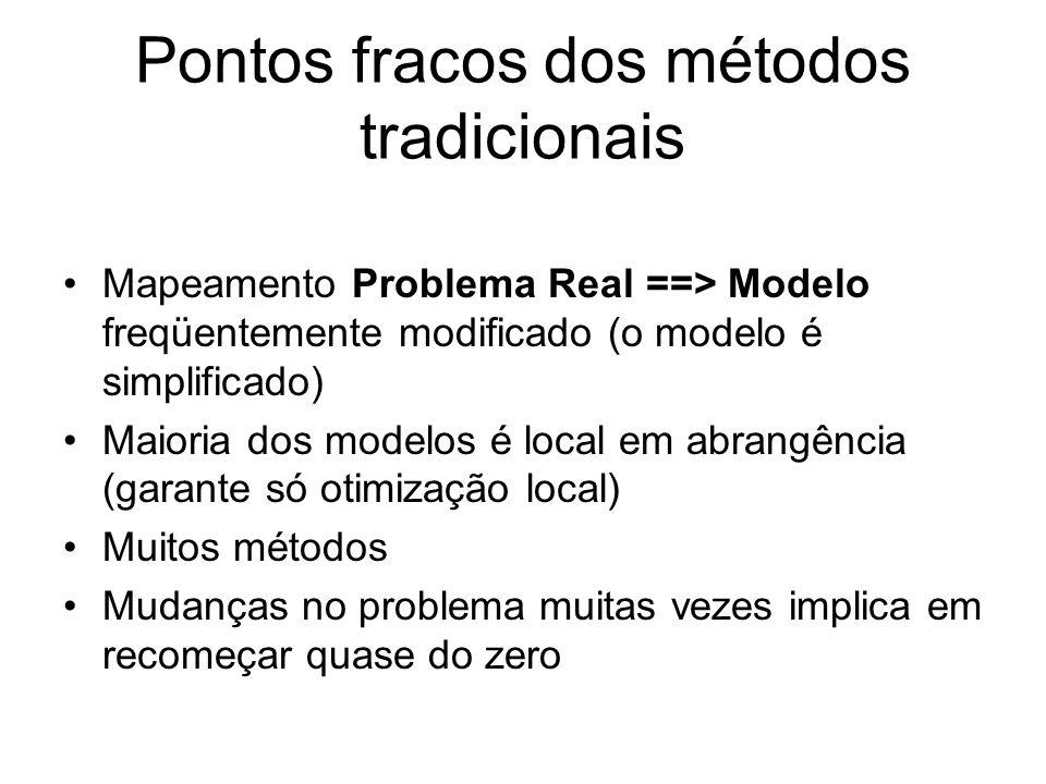 Características (cont.) obtenção de soluções para problemas cuja solução exata é muito difícil de ser encontrada em um tempo razoável