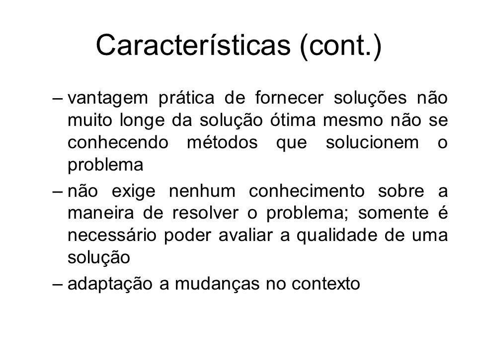 Características (cont.) –vantagem prática de fornecer soluções não muito longe da solução ótima mesmo não se conhecendo métodos que solucionem o probl