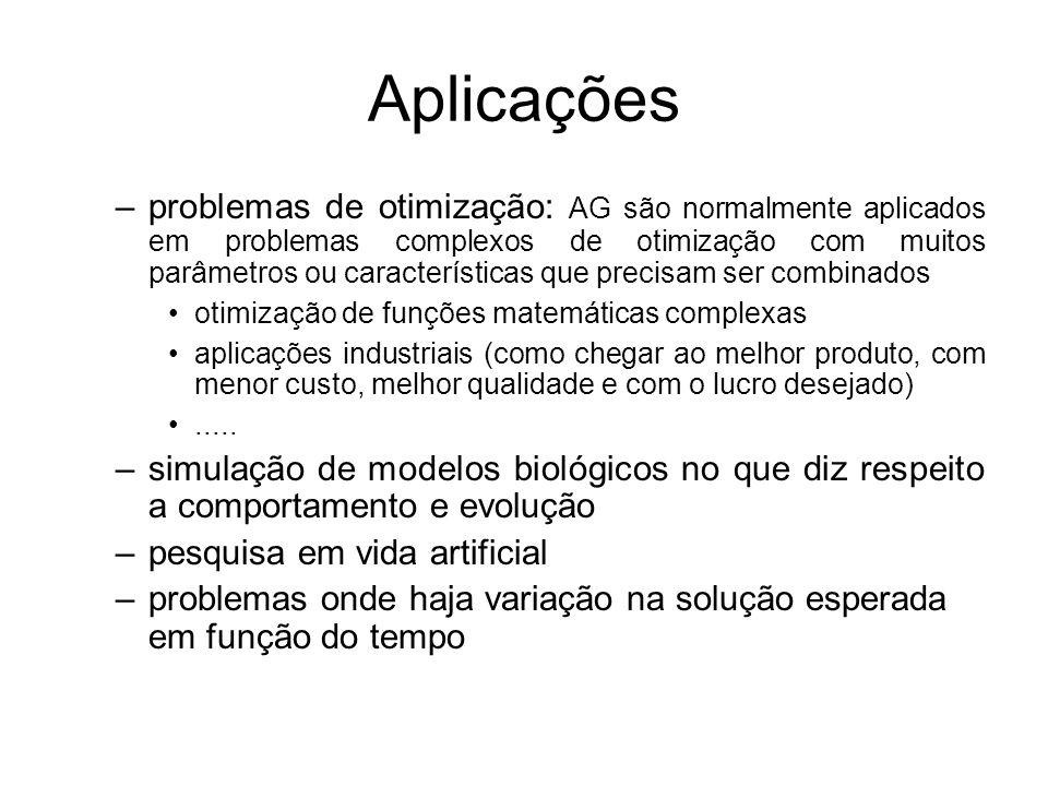 Aplicações –problemas de otimização: AG são normalmente aplicados em problemas complexos de otimização com muitos parâmetros ou características que pr