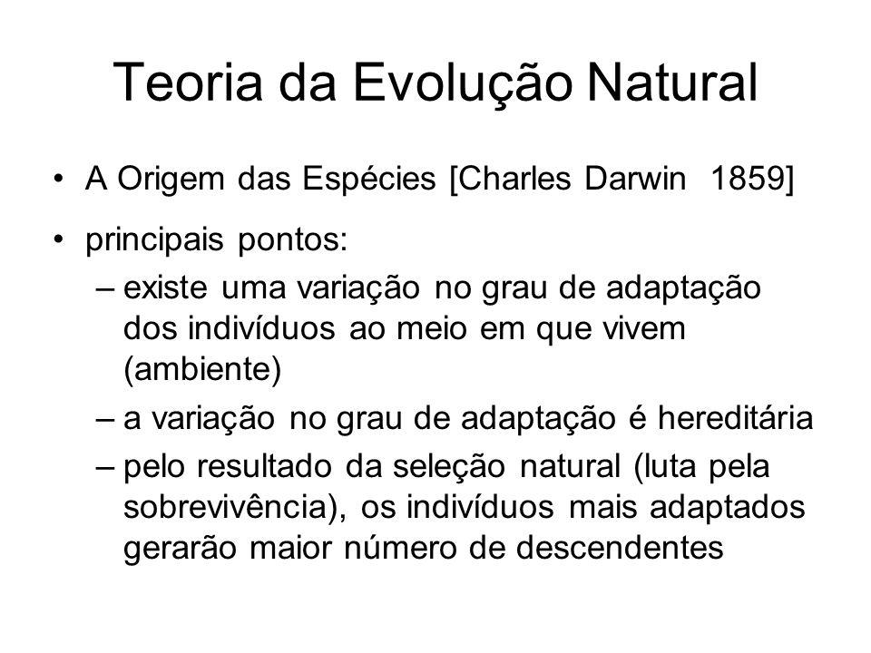Teoria da Evolução Natural A Origem das Espécies [Charles Darwin 1859] principais pontos: –existe uma variação no grau de adaptação dos indivíduos ao