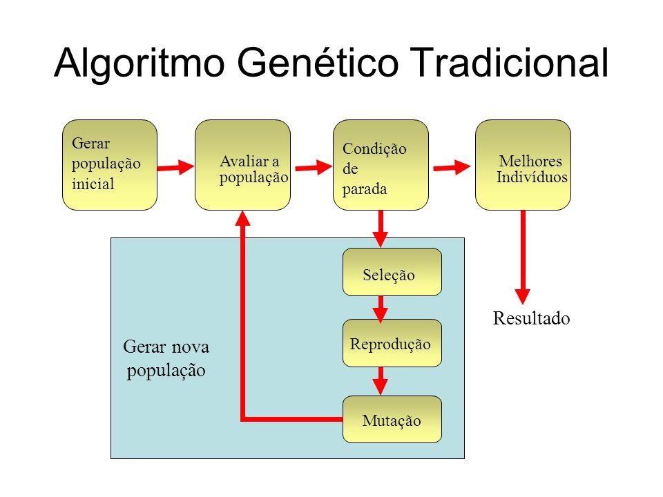 Necessidades uma representação das soluções potenciais do problema uma população inicial de soluções potenciais uma função de aptidão (fitness) que avalie cada solução potencial (cada indivíduo) operadores genéticos para alterar a composição dos descendentes valores para os parâmetros utilizados (tamanho da população, probabilidades dos operadores, etc.)