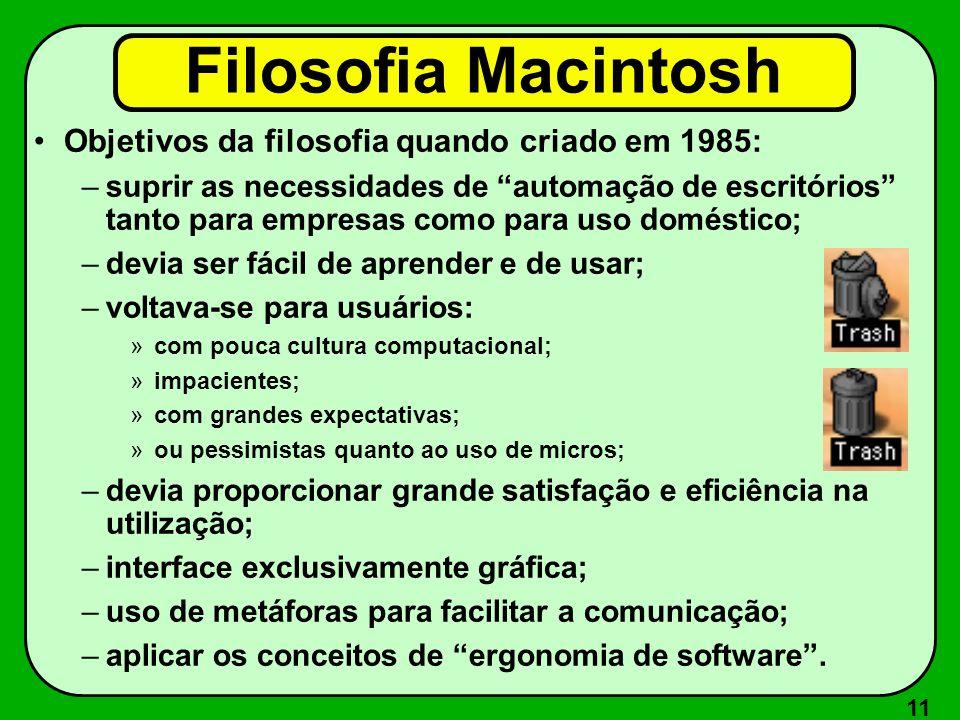 11 Filosofia Macintosh Objetivos da filosofia quando criado em 1985: –suprir as necessidades de automação de escritórios tanto para empresas como para
