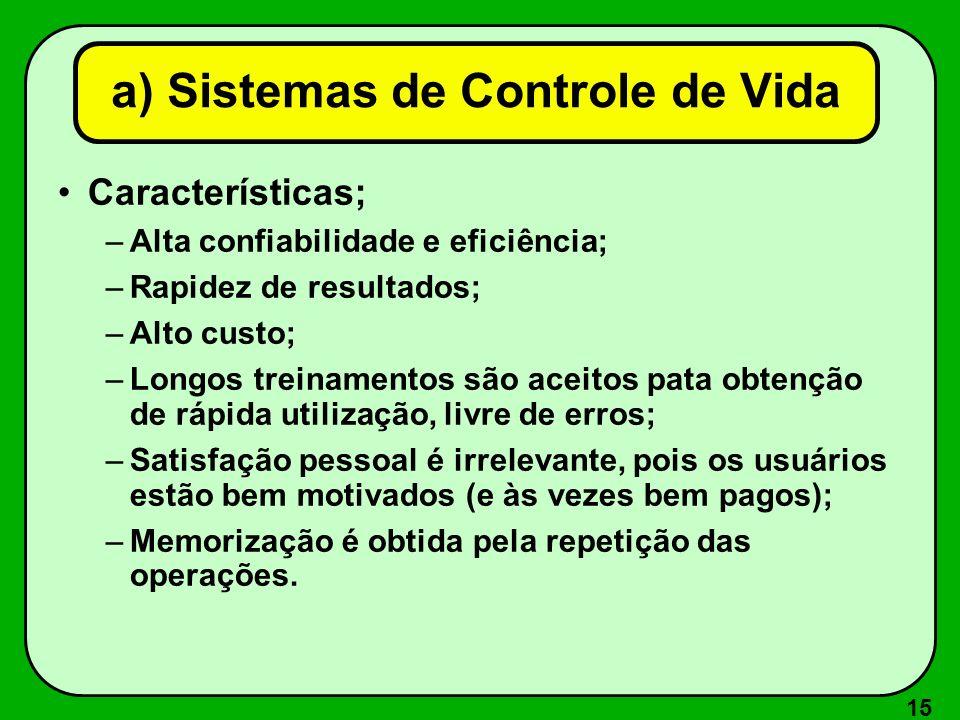 15 Características; –Alta confiabilidade e eficiência; –Rapidez de resultados; –Alto custo; –Longos treinamentos são aceitos pata obtenção de rápida u