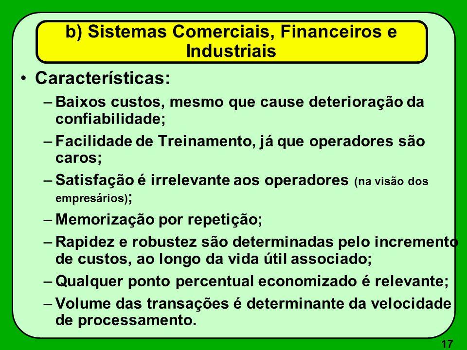 17 Características: –Baixos custos, mesmo que cause deterioração da confiabilidade; –Facilidade de Treinamento, já que operadores são caros; –Satisfaç