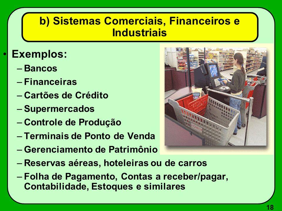 18 Exemplos: –Bancos –Financeiras –Cartões de Crédito –Supermercados –Controle de Produção –Terminais de Ponto de Venda –Gerenciamento de Patrimônio –