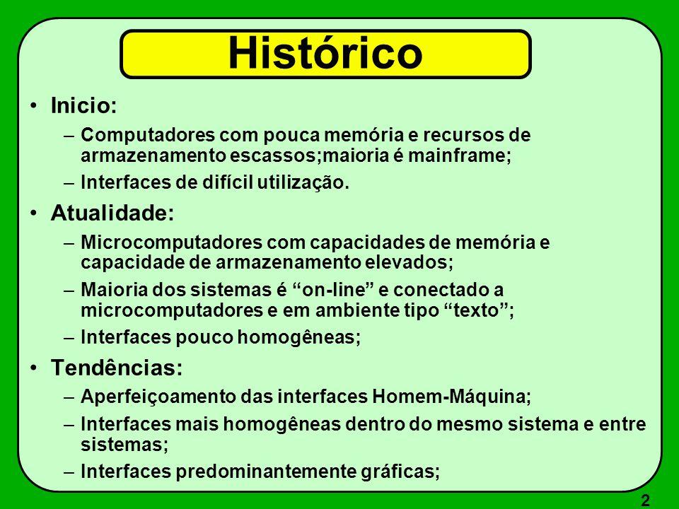 2 Histórico Inicio: –Computadores com pouca memória e recursos de armazenamento escassos;maioria é mainframe; –Interfaces de difícil utilização. Atual