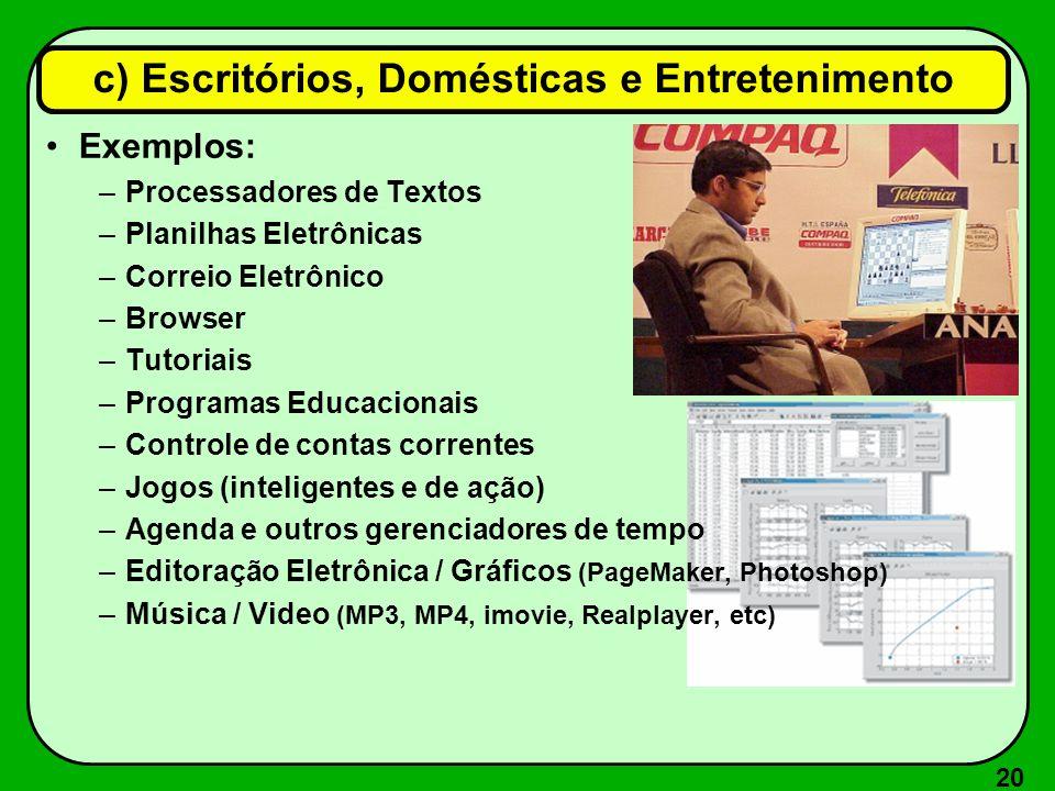 20 Exemplos: –Processadores de Textos –Planilhas Eletrônicas –Correio Eletrônico –Browser –Tutoriais –Programas Educacionais –Controle de contas corre