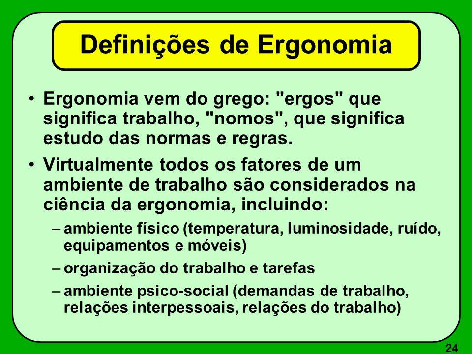 24 Definições de Ergonomia Ergonomia vem do grego: