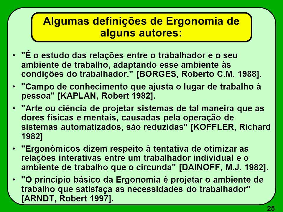 25 Algumas definições de Ergonomia de alguns autores: