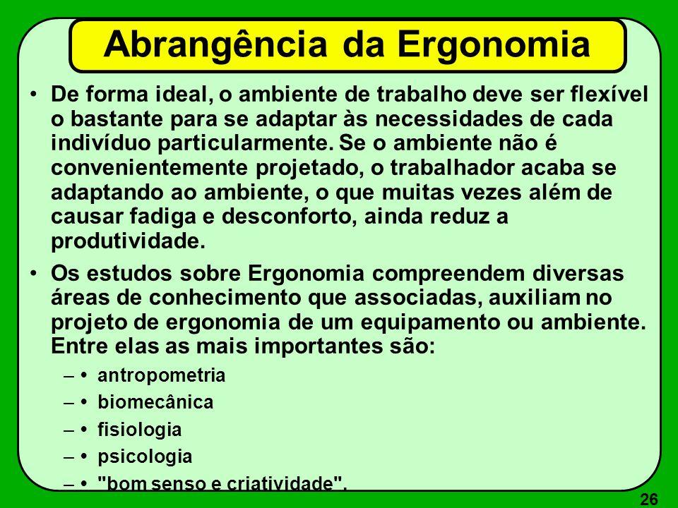 26 Abrangência da Ergonomia De forma ideal, o ambiente de trabalho deve ser flexível o bastante para se adaptar às necessidades de cada indivíduo part