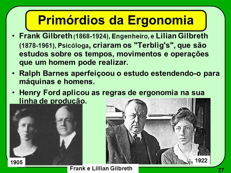 27 Primórdios da Ergonomia Frank Gilbreth ( 1868-1924), Engenheiro, e Lilian Gilbreth (1878-1961), Psicóloga, criaram os