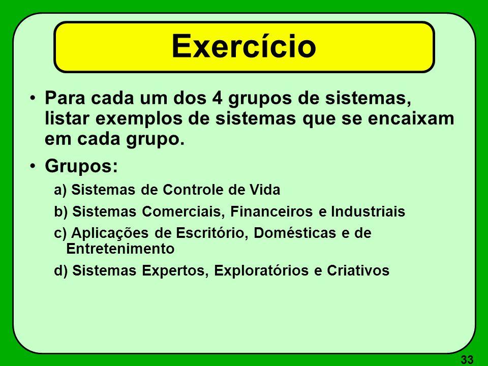 33 Exercício Para cada um dos 4 grupos de sistemas, listar exemplos de sistemas que se encaixam em cada grupo. Grupos: a) Sistemas de Controle de Vida
