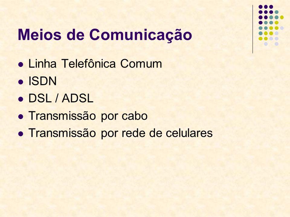 Meios de Comunicação Linha Telefônica Comum ISDN DSL / ADSL Transmissão por cabo Transmissão por rede de celulares