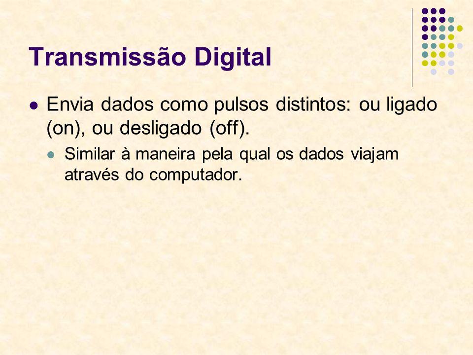Transmissão Digital Envia dados como pulsos distintos: ou ligado (on), ou desligado (off). Similar à maneira pela qual os dados viajam através do comp