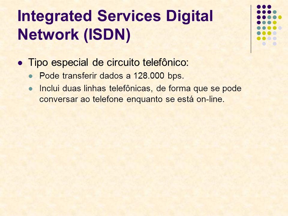 Integrated Services Digital Network (ISDN) Tipo especial de circuito telefônico: Pode transferir dados a 128.000 bps. Inclui duas linhas telefônicas,