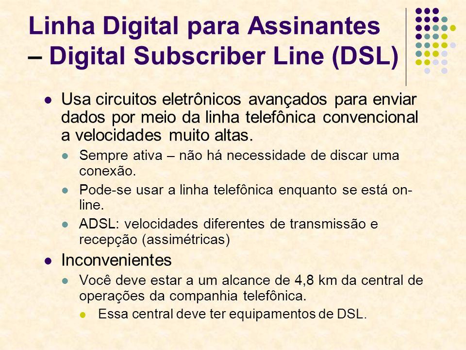 Linha Digital para Assinantes – Digital Subscriber Line (DSL) Usa circuitos eletrônicos avançados para enviar dados por meio da linha telefônica conve