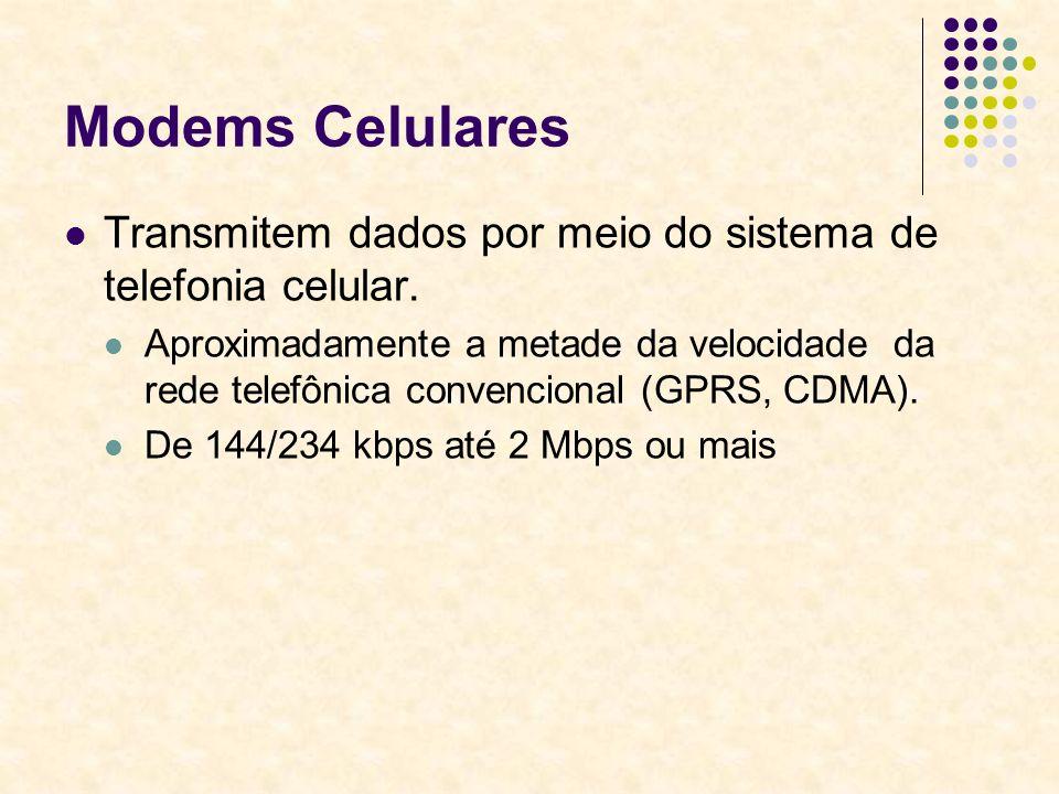 Modems Celulares Transmitem dados por meio do sistema de telefonia celular. Aproximadamente a metade da velocidade da rede telefônica convencional (GP