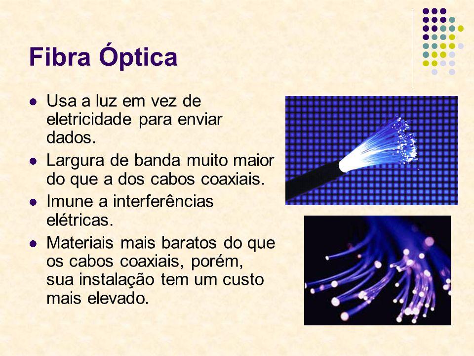 Fibra Óptica Usa a luz em vez de eletricidade para enviar dados. Largura de banda muito maior do que a dos cabos coaxiais. Imune a interferências elét