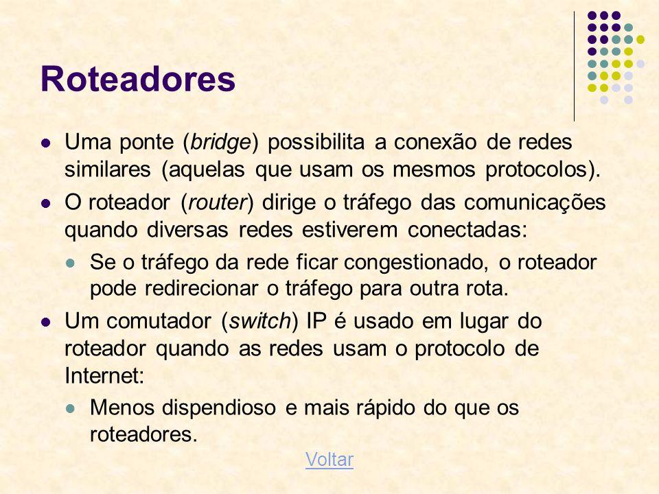 Roteadores Uma ponte (bridge) possibilita a conexão de redes similares (aquelas que usam os mesmos protocolos). O roteador (router) dirige o tráfego d
