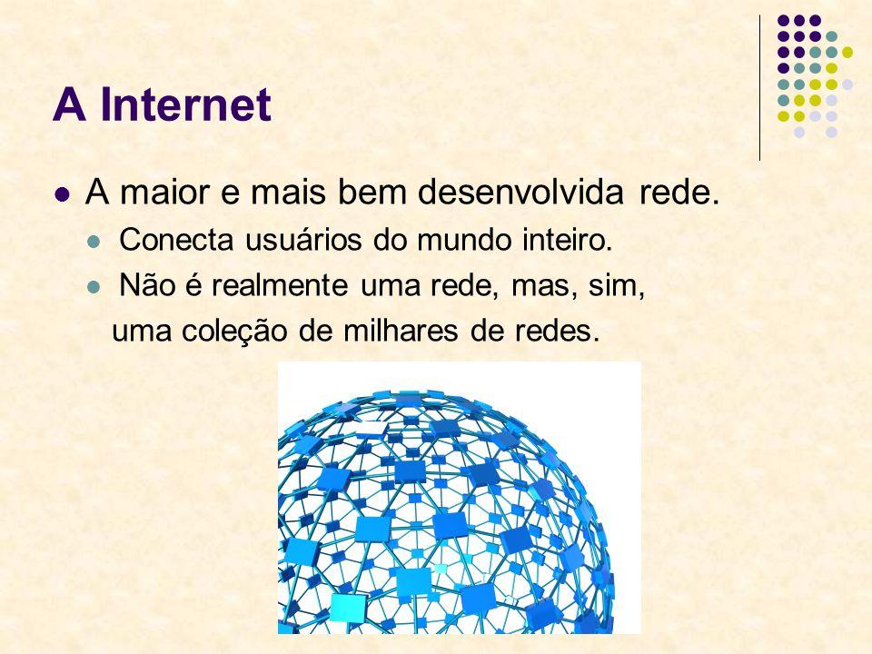 A Internet A maior e mais bem desenvolvida rede. Conecta usuários do mundo inteiro. Não é realmente uma rede, mas, sim, uma coleção de milhares de red
